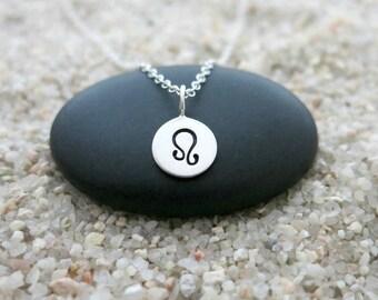 Leo Necklace, Sterling Silver Leo Charm, Zodiac Jewelry