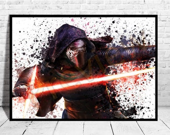 Kylo Ren Star Wars The Force Awakens Poster, Star Wars Art, Star Wars Canvas,Star Wars Gifts, Buy any 2 Prints get 3rd FREE, AG194