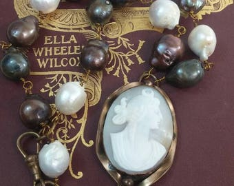 MOON GODDESS CAMEO baroque pearls  antique vintage assemblage necklace