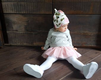Top Knot Baby Hat white and pink Floral