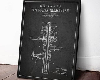 1925 Oil or gas drilling mechanism, Canvas Print, Oil Drilling Art, Texas Print, Wall Art, Home Decor, Gift Idea, PFEN08C