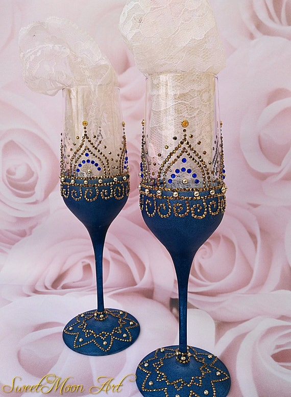 Copas champagne azul copas doradas copas para boda copas for Copas decoradas a mano