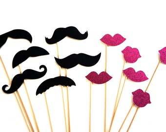 Photo Booth Props - Mustaches and Glitter Lips - 12 piece set - Hot Pink GLITTER Lips - Birthdays, Weddings, Parties - Photobooth Props