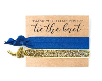 Navy Blue + Gold Glitter Hair Tie Favors | Bridesmaid Gift Hair Ties, Navy Blue + Gold Hair Tie Favors, Wedding Party + Bridal Shower Favors