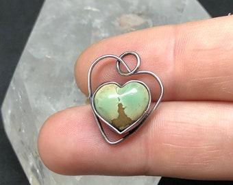 Turquoise pendant , turquoise heart pendant , sterling heart pendant