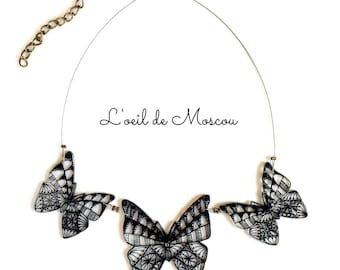 Necklace creation original shrink plastic butterfly pendant