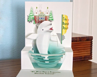 Pop up Holiday Beluga Whale card The North Pole 3D Christmas card