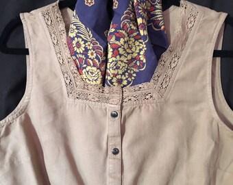 Tan Cotton Blend Blouse/By J. Jill /Size Petite/Medium
