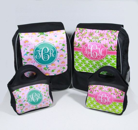 Gifts Monogram Backpack & Lunch Tote Set Preppy Floral Lilly Inspired Personalized Girls School Back Pack Custom Book Bag Lunch