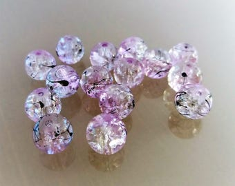 15 glass beads 10 mm purple and transparent