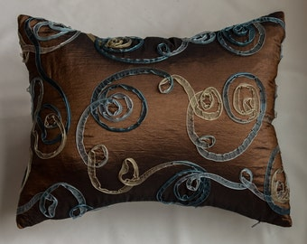 Sale.... Sheer Blue, White Ribbon on Brown Faux Silk Pillow Cover
