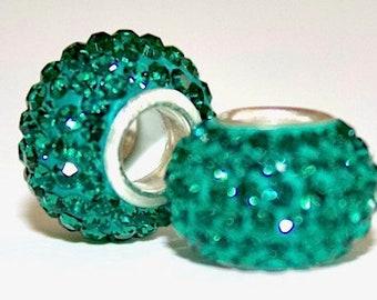 BUNCHABEADS May Emerald Green Birthstone Bead Charm 925 Sterling Silver - Multiple Birthstones - SBH189