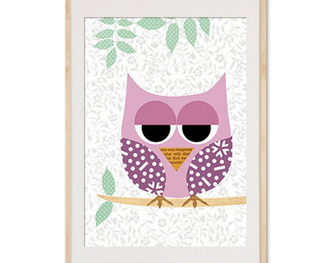 Cute Pink Owl with polka dots Collage - Girls Print Nursery Art, Baby Room Decor, Kids, Nursery Decor