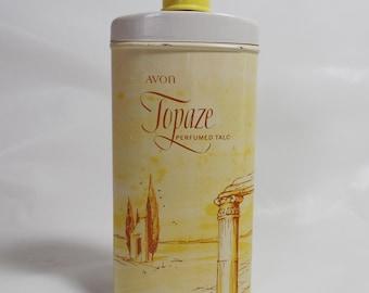 Vintage AVON Perfumed TALC Topaze Powder Tin Shaker Unused Full  2.75 OZ