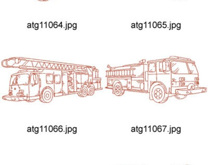 Redwork-Fire-Trucks ( 10 Machine Embroidery Designs from ATW ) XYZ17D