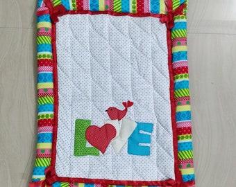Handmade Baby Quilt | Love Design Quilt | Pure Cotton | Cotton Quilt