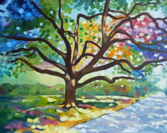 Original Oil Painting, Original Art, Tree Painting, Oak Tree Painting  18 x24 x1.5 Inches