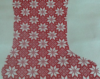 Christmas Stocking Band Red and White Poinsettias Cross Stitch (finished, completed)