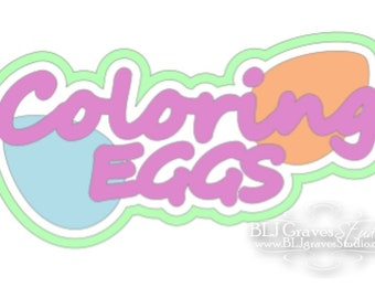 Premade Paper Piece Title Die Cut for Scrapbook Page Easter Coloring Eggs Handmade 62