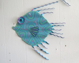 "Fun Whimsy Metal Fish wall or Outdoor Art Hand Painted Decor Beach Lake Nautical  11 x 10"" Seafoam Blue Fish, Tropical, Fish Art, Metal Fish"