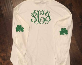 St Patrick's Day long sleeve t-shirt green glitter