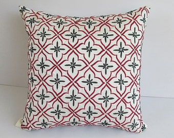 off white decorative pillow  with red and green  diamond embroidery and stone work. 18 inch  1 in stock