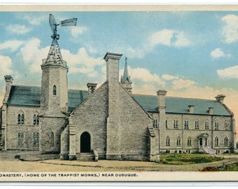 Monastery Trappist Monks Home Dubuque Iowa 1920s postcard