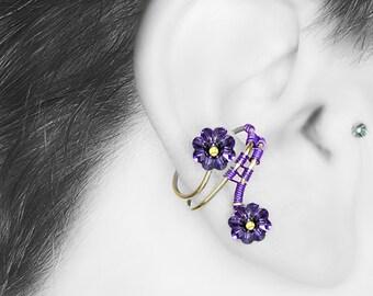 Purple Swarovski Crystal Ear Cuff, No PIercing, Tanzanite Crystal, Statement Jewelry, Wire Wrapped, Youniquelychic, Khaos III v9