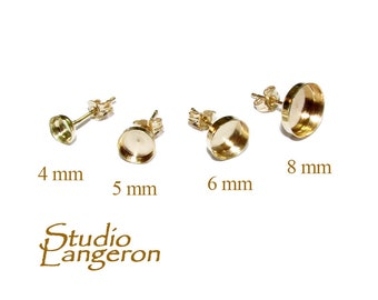 14K Solid Gold Earrings Post With bezel cup size 4, 5, 6, 8 mm, Earring Backs Included, 14K Solid gold, earring component - 1 pair (2 piece)