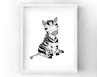 Zebra Nursery Art Print - Safari Animal Wall Art for Kids Room