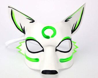 White Fox Mask, UV Blacklight Rave Mask, Green and White, Fluorescent Fox Mask, Kitsune Kabuki Mask, Fox Rave Costume, Furry Head