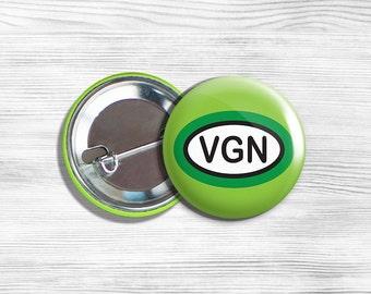 "Vegan Vegetarian ""VGN"" Pinback Button Pin 1.75"" Green"