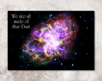 """Beautiful Nebula """"We are all made of Star Dust""""  Inspirational Poster - astrophysics science space exploration print"""