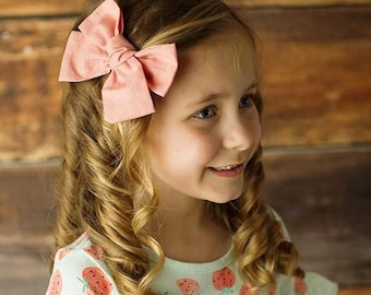 U PICK COLOR Cotton Bow, Fabric Hair bow 4 girls  on Clip, pinwheel knot bow, blue, pink,white, black, red, ivory, mustard