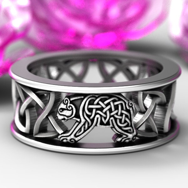 Bear In Hing Reng 2: Sterling Silver Bear Wedding Band, Celtic Bear Ring, Mens