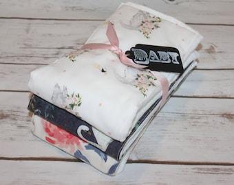 Modern Baby Burp Cloth~ Set of 3 Swan Princess~ Baby Shower Gift