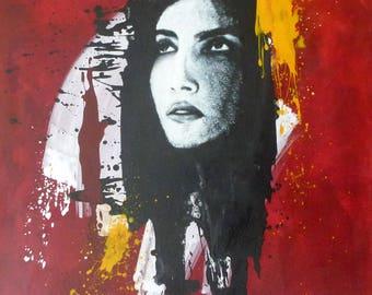 woman, face, art, acrylic, print, red, splash, colors, pop