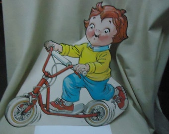 Vintage Young Boy Riding Scooter Cardboard Cut Out, collectable, USA