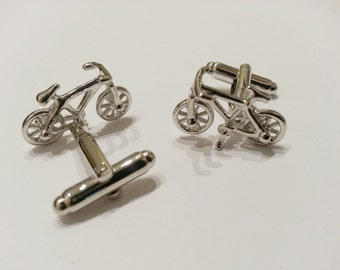 Bicycle Cufflinks Cuff Link Mens Cyclist BMX Mountain Motocross Groomsman Wedding Gift Silver Plated - CLBIKE01