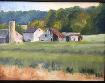 Lancaster farm PA by RICHARD Williams  original oil on panel, framed.