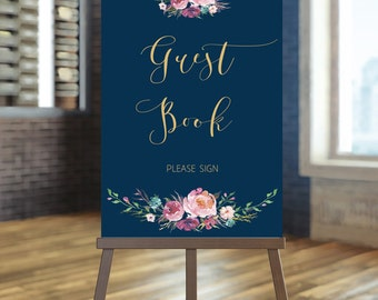 Printable wedding guest book sign, Floral wedding sign , Gold guest book sign, Navy guest book sign, Coral and navy guest book sign, Anna