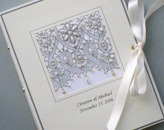 Custom Photo Album Keepsake Beaded Lace, Wedding, Anniversay, Birthday 5x7 or 6 x 7.5