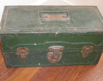 "Metal Chest Green Chippy Rusted Paint - Includes Misc Tackle ""Grandpa's Gone Fishing Stuff"""