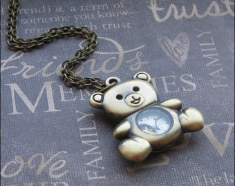Steampunk Bear Necklace - Enchanted Steampunk Teddy Bear Bot - Jewelry by TheEnchantedLocket - COOL Teacher Wedding Best Friend Wife Gift