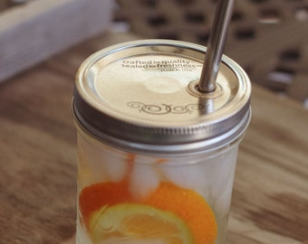 Medium Mason Jar Cup with Stainless Steel Smoothie Straw