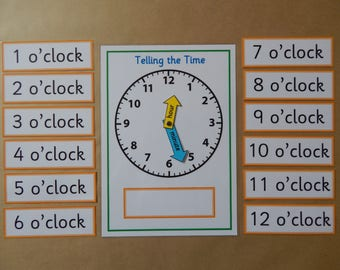 Telling the Time, A4 Mat & flash cards, Clock Face, moveable clock hands,  Learning Time,  KS1, KS2 Teaching Resource, educational