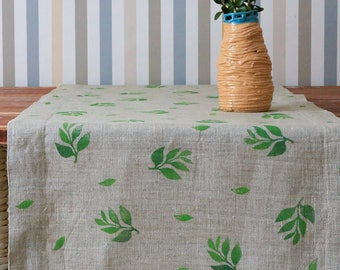 Linen table runner with hand printed twigs | Rustic linen | Burlap table runner | Natural runners | Wedding table runner