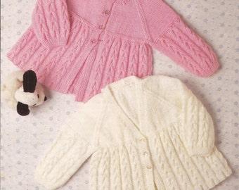 "PDF Knitting Pattern Knitted Baby Matinee Coats x 2 sizes 16-20"" (RP279)"