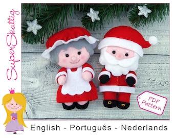 Felt pattern Santa & Mrs. Claus, softie pattern Christmas, plush pattern doll, pdf sewing pattern by Superskattig