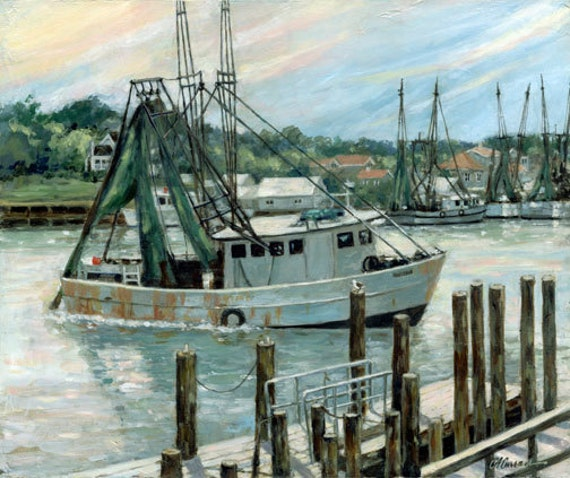 "Going Shrimping by Carol Ann Curran - Fine Art Print - Double Matted to 11"" x 14"" (Image Size 8"" x 10"") - Shem Creek, Mount Pleasant, SC"